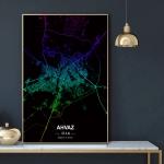 پوستر نقشه مدرن شهر اهواز در فرمت عکس با کیفیت بالا
